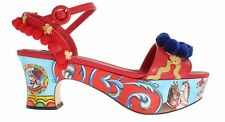 NEW DOLCE & GABBANA Shoes Handpainted Red Leather Carretto Sandals EU39 / US8.5
