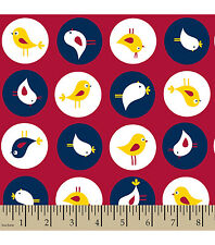 Fabric Birds in Circles on Red Flannel 14""