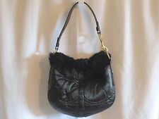 COACH Limited Edition Rabbit Fur Signature Quilted Hobo Shoulder Bag 3586 Black
