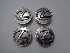 "Set (4) Genuine Lexus 2.5"" OEM Factory Center Caps Grey Chrome Emblem 2-1/2"""