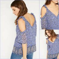 Miss Selfridge Top Size 8 - Blue Paisley Cold Shoulder - BNWT - New £28 RRP