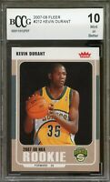 2007-08 Fleer #212 Kevin Durant Rookie Card BGS BCCG 10 Mint+