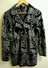 Style&co Womens Size M Cardigan Sweater Black and Grey floral casual Career