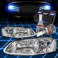 Fit 2001-2003 Chrysler/Dodge Stratus Headlight Lamps w/LED Kit Slim Style Chrome
