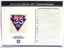 BUFFALO BILLS ~ 35th ANNIVERSARY NFL TEAM PATCH CARD ~ Willabee & Ward WORN 1994