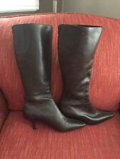 New Ann Taylor Loft Brown Leather Knee High Kitten Heel Boots Size 6 M