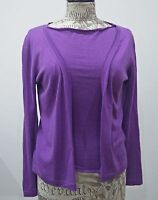 Marni purple cashmere twinset, cardigan + short sleeved top, size S/IT38