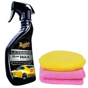 Meguiars Ultimate Quik Wax Spray Shine Protection High Gloss Shine + Pad & Cloth