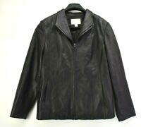 Worthington Women's Large Genuine Lambskin Lined Full Zip Riding Jacket Black
