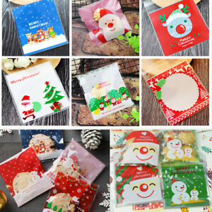 100x Cellophane Bag Birthday Party Favour Cookie Treat Sweet Candy Biscuit Gift