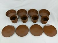 Vintage 12 Pc Set MELAMINE Plastic Plate, Bowl & Mug Brown Retro Dishes Dish