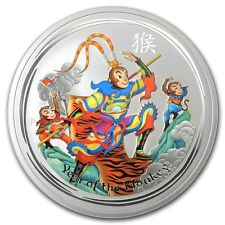 Perth Mint Australia $ 0.5 LS2 Colored Monkey King 2016 1/2 oz .999 Silver Coin