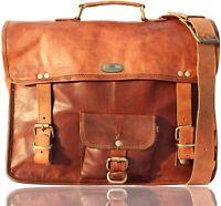 """18"""" Men's Camel Handmade Leather Vintage Messenger Shoulder Laptop Bag Briefcase"""