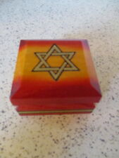 """""""Star Of David"""" Wood Trinket Box, Made In Poland, 2 3/4"""" Square, Hinged Lid"""