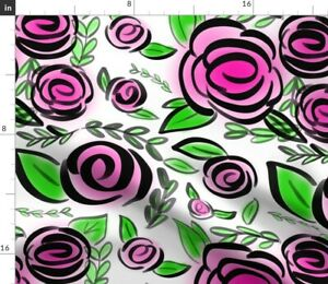 Pink Roses Spray Paint Modern Cartoon Flowers Spoonflower Fabric by the Yard