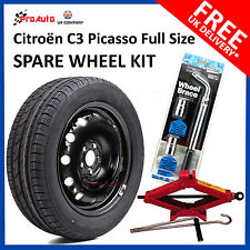 "CITROEN C3 PICASSO 2009-2017 16"" FULL SIZE STEEL SPARE WHEEL & TYRE  + TOOL KIT"