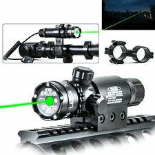 Tactical Green Laser Sight Gun Rail Mount Dual Ring & Remote Controller Hunting
