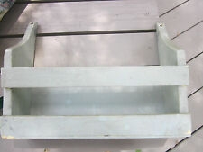 Antique/Vintage wood wall shelf with slat front. Angled sides. Painted
