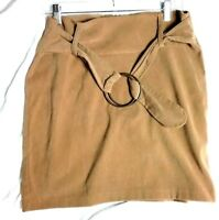 Vintage Tan Hippy Velvet Zip Back Wide Ring Belt Buckle Size 12 JR Skirt Retro