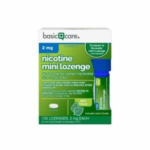 Basic Care Mini Nicotine Polacrilex Lozenge 2 mg nicotine 135 ct  Stop Smoking