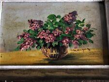 """Ancienne Huile sur bois miniature """" Bouquet de Fleurs """" 18X13  tableau signé"""