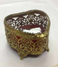 Stunning Vintage GLOBE Heart Shaped Filagree Jewelry Box 24k Gold Plated w/lable