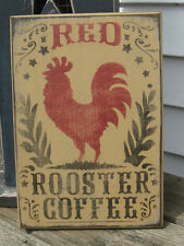 PRIMITIVE COUNTRY RED ROOSTER COFFEE  SIGN kitchen