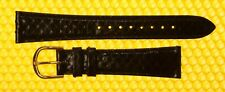 18mm KREISLER Real-Snake Leather Watch Strap Band BLACK <NWoT>