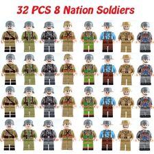 32 pcs WW II 8 National Soldiers Mini Figures Building Blocks Fit Lego Toys