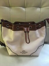 New Coach F37682 Baby Mickie Drawstring Shoulder Bag  Leather Brown Chalk