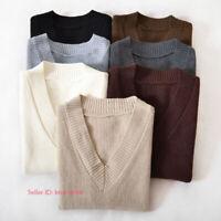 Womens Pullover Sleeveless Knitted Vest Sweater Tank Tops Jumper V-Neck Knitwear