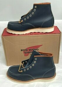 """Red Wing Heritage 6"""" Moc Toe Men's Boots US 8 D Navy Portage Leather 08859 USA"""