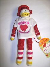 """""""Hugs & Kisses"""" 8"""" Sock Monkey Style Stuffed Plush with Magnets in the Hands"""