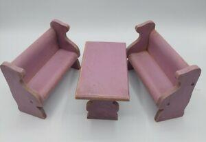 Vintage Strombecker Like Wood Dollhouse Miniature Furniture Purple Dining Room