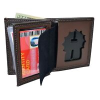 Perfect Fit Badge Wallet New York Detective Police Brown Leather Bi Fold Mens