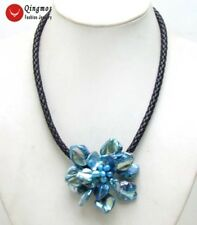 70mm Blue Shell Pearl Flower Pendant Necklace & Black Rope 18'' Chokers n6319