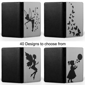 Silhouette Tinkerbell Fairy Butterfly Passport Holder Faux Leather Cover Case