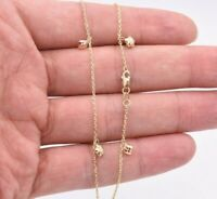"10"" Circle Star Ball Diamond Cut Anklet Ankle Cable Chain Real 14K Tricolor Gold"