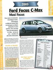 Ford Focus C-Max 1,8L Duratec 4 Cyl. 2003 Germany USA Car Auto FICHE FRANCE