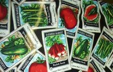 "100% Cotton Fabric BTY 45"" Farmer's Market Vegetable Seed Packets - Black Back"