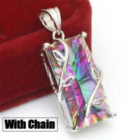 Huge Mystic Rainbow Topaz Pendant Choker Necklace 925 Silver Women Party Jewelry