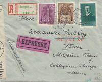 Ungarn: 1941: Einschreiben Express Budapest nach Wien, Zensur