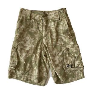 Under Armour Camo Cargo shorts Boys Small 7 Stretch Military Athletic Golf