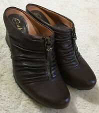 Women's Earthies Javelle Brown Leather Wedge Slides Mules Shoes  7 M  $169