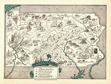 1930s Antique Animated PENNSYLVANIA State Map RARE Picture Map  BLU 7146