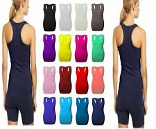 New Ladies Womens Long Racer Back Bodycon Muscle Vest Top Gym Top All Sizes 8-26