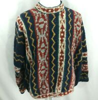 Vtg 80s 90s Retro Print FRESH PRICE Cosby Hip Hop Sweater Wool Homemade Mens 3XL