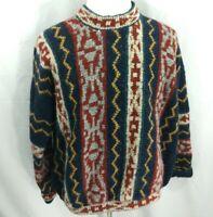 Vtg 80s 90s Retro Print FRESH PRICE Cosby Hip Hop Sweater Wool Homemade Mens 3XL