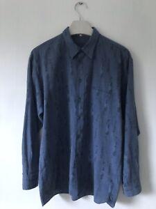 Vintage 50s Style Colour Flecked Mens Blue Shirt M/L