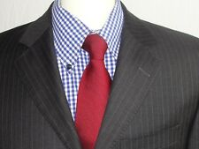 MENS STUNNING  JAEGER  DARK GREY IN BROWN STRIPE  SUIT 38R ( 48R EUR) W32 x L29
